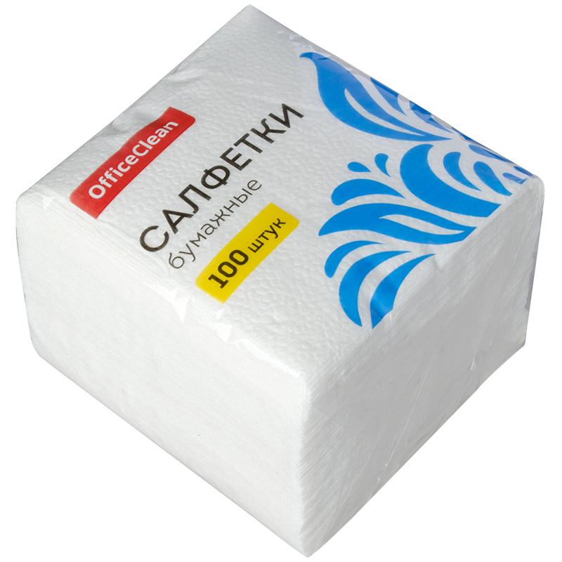 Салфетки бумажные 100шт OfficeClean, 1 слойн., 23х23см, белые, 12шт/спайка
