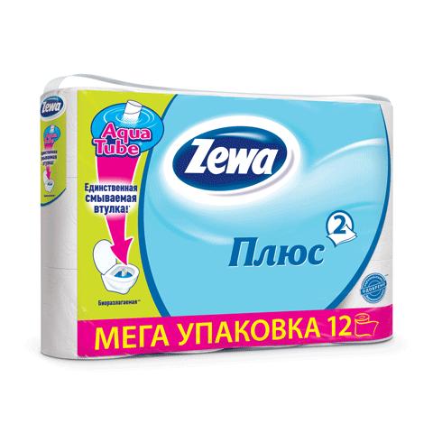 Бумага туалетная ZEWA 2-х слойная, белая, 12шт/уп 1рулх23м