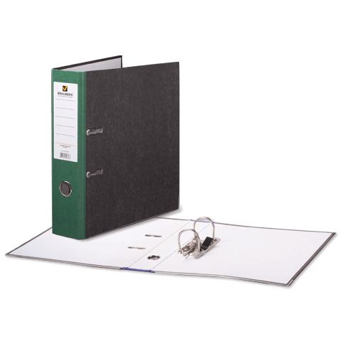 Папка-регистратор 80мм, мрамор, зеленый корешок 24шт/уп (BRAUBERG)