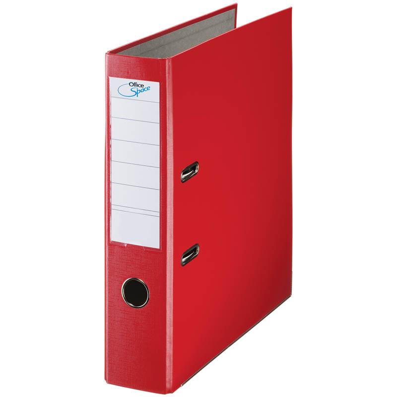 Пaпкa-регистратор 70мм, красная, бумвинил, с карманом на корешке 10шт/кор (OfficeSpace)