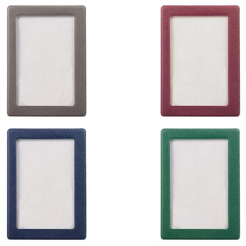 Обложка-карман для проездных документов 75х105 мм, ПВХ, в цветной рамке, ассорти 50шт/уп (ДПС)