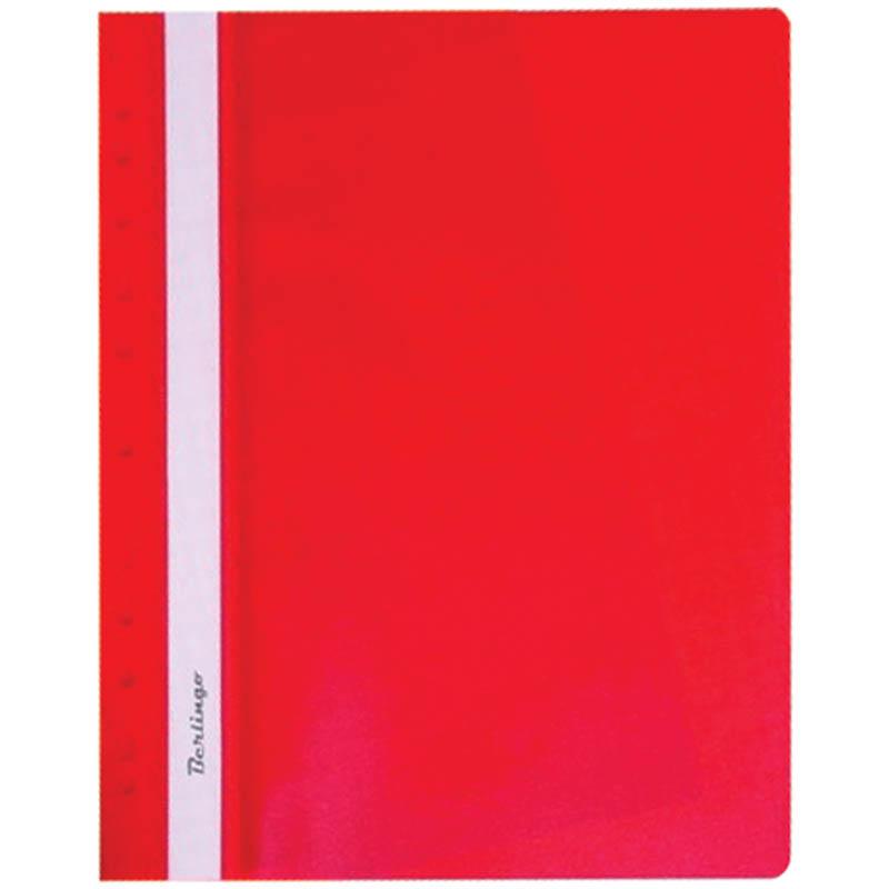 Скоросшиватель пластиковый с прозрачным верхом, с перфорацией, красный 10шт/уп (Berlingo)