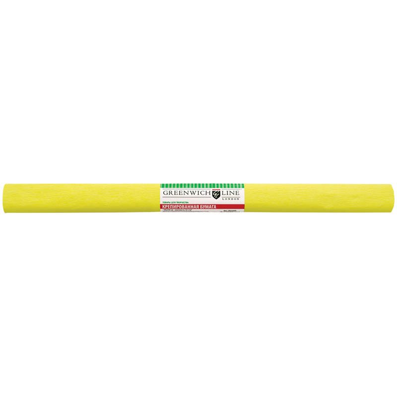 Бумага крепированная 50х250см, лимонная, в рулоне (Greenwich Line)