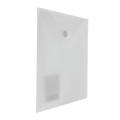 Папка-конверт с кнопкой А6, матовая прозрачная,  0,18мм (BRAUBERG)