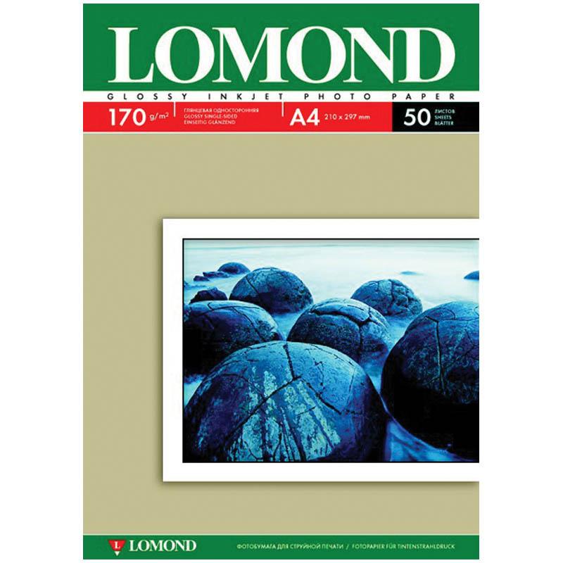 Фотобумага А4, 170гр, 50л глянцевая, односторонняя, д/струйных принтеров (LOMOND)