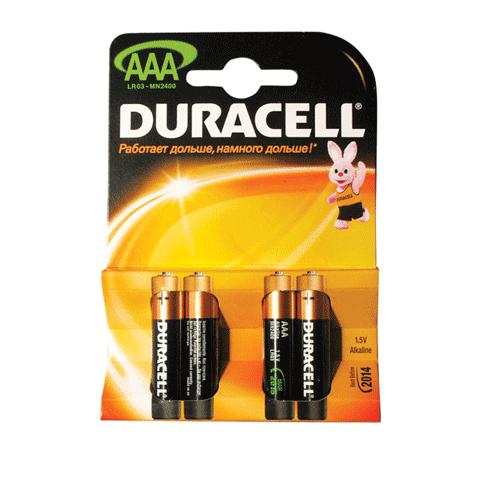 Батарейка AAA LR3, 1.5В, 4шт/уп (работают до 10 раз дольше) (DURACELL)