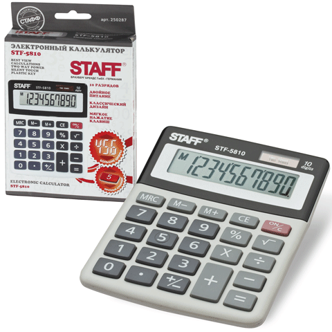 Калькулятор настольный 10 разрядов, двойное питание 134х107мм (STAFF)