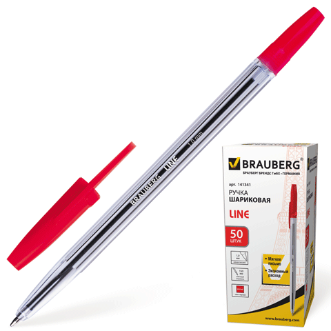"Ручка шариковая красная, 1мм, прозрачный корпус ""Line"" 50шт/уп (BRAUBERG)"