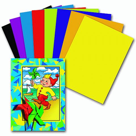 """Цветная бумага А4, 8 цветов, 16 листов, """"Гномик на море"""" (ПИФАГОР)"""