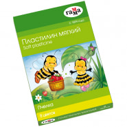 """Пластилин 8 цветов, 120гр, восковой, мягкий, со стеком """"Пчелка"""" (ГАММА)"""