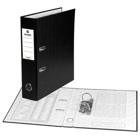 Папка-регистратор 70мм, черный, ПВХ, карман на корешке 20шт/уп (BRAUBERG)