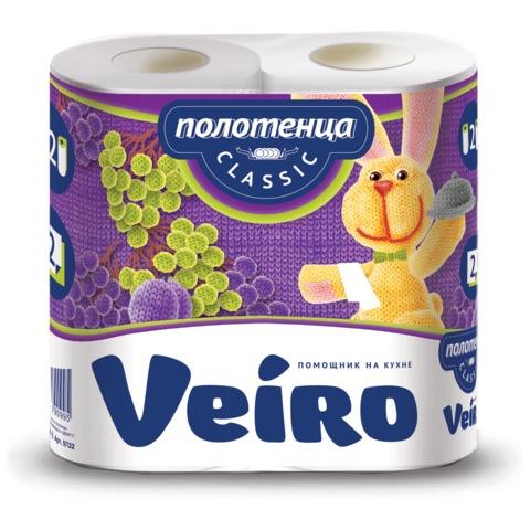 Полотенце бумажное VEIRO (Вейро) (2 шт)., 2-х слойные, (2х12,5 м), белые, 5п22,ш/к 90995