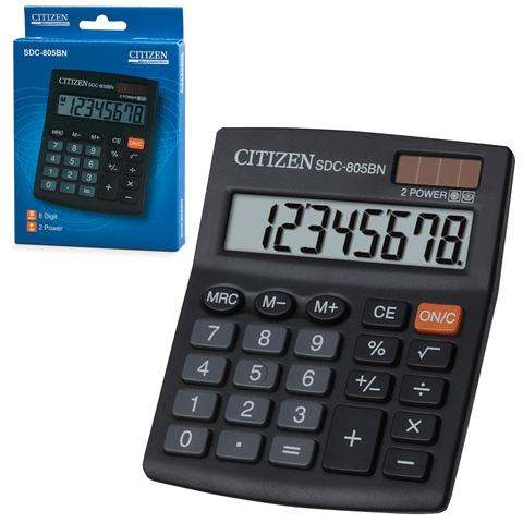 Калькулятор настольный 8 разрядов, двойное питание, 125x102мм, SDC-805BN (CITIZEN)