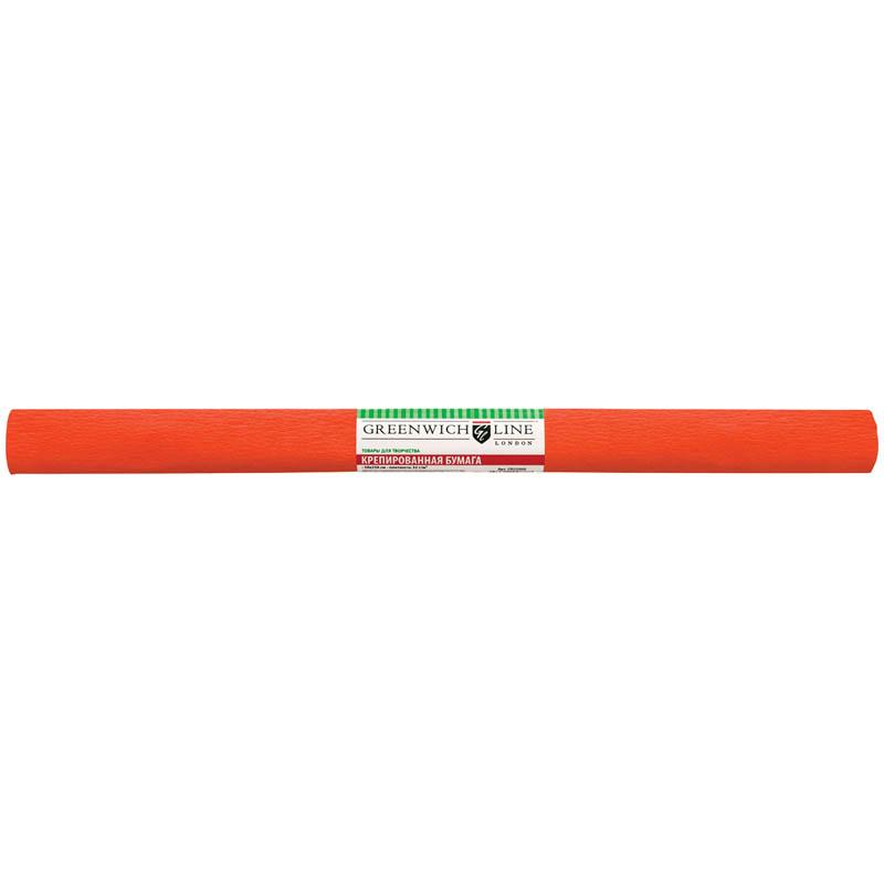 Бумага крепированная 50х250см, тёмно-оранжевая, в рулоне (Greenwich Line)