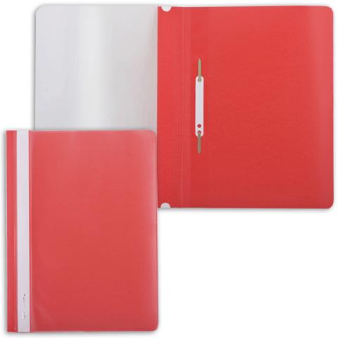 Скоросшиватель пластиковый с прозрачным верхом, красный 25шт/уп (BRAUBERG)