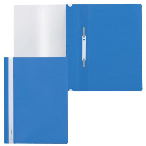 Скоросшиватель пластиковый с прозрачным верхом, синий 25шт/уп (BRAUBERG)