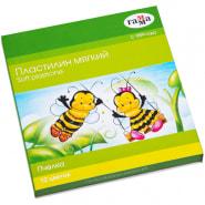 """Пластилин 12 цветов, 180гр, восковой, мягкий, со стеком """"Пчелка"""" (ГАММА)"""