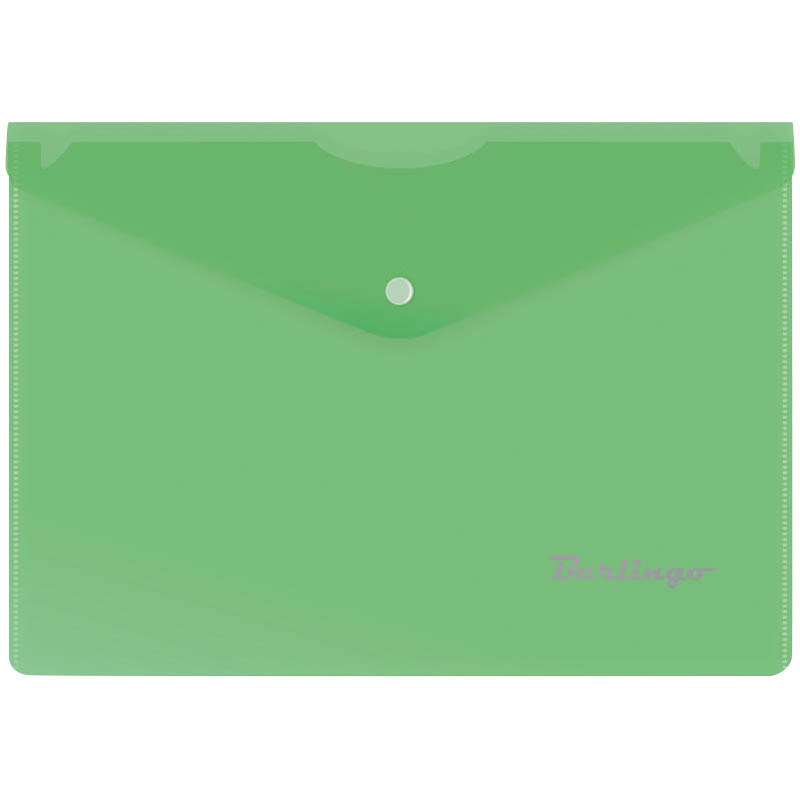 Папка-конверт на кнопке A5, зеленая, 180мкм 10шт/уп (Berlingo)