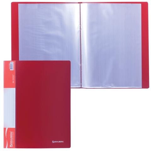 """Папка на 20 файлов, красная, карман на корешке, 0,6мм """"Стандарт"""" (BRAUBERG)"""