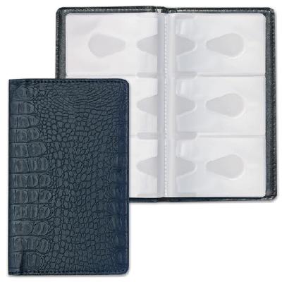 Визитница/кредитница на 96 визиток/карт, черная, крок.кожа (115х200мм) (BRAUBERG)