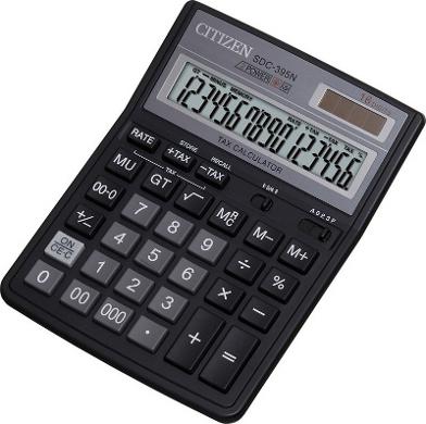 Калькулятор настольный 16 разрядов, двойное питание, 192х143х40мм, черный (Citizen)