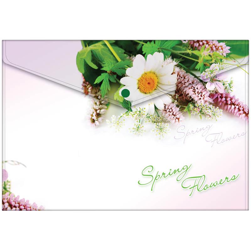 "Папка-конверт на кнопке А4, с рисунком ""Spring Flowers"" 180мкм, 10шт/уп (Berlingo)"
