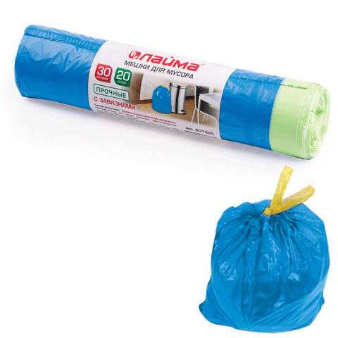 Мешки д/мусора 30лх20шт ЛАЙМА, рулон, ПНД, прочные, с завязками, 50*60см,12мкм,син