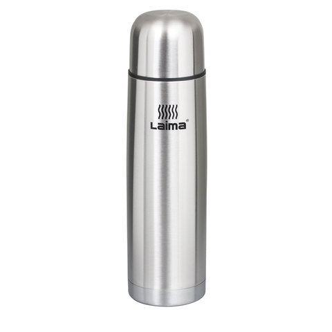 Термос 0,5л, классический с узким горлом, нержавеющая сталь (ЛАЙМА)