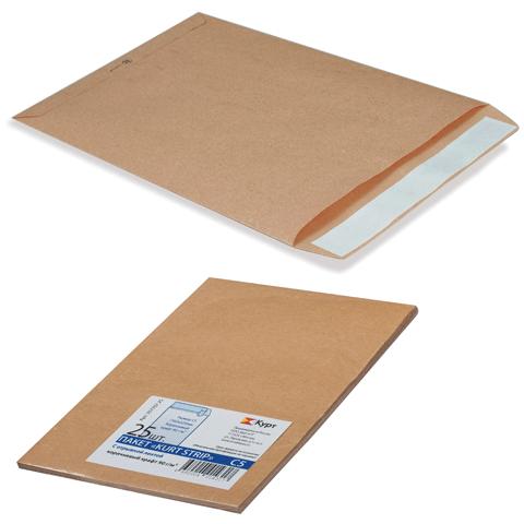 Конверт-пакет плоский (250х353) крафт, отрывная полоса, на 140 листов 25шт/уп