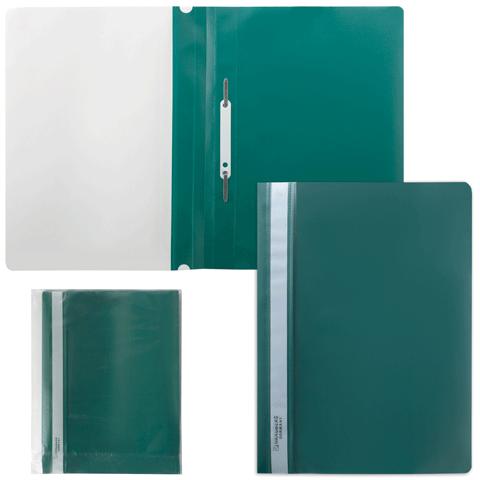 Скоросшиватель пластиковый с прозрачным верхом, зеленый 25шт/уп (BRAUBERG)