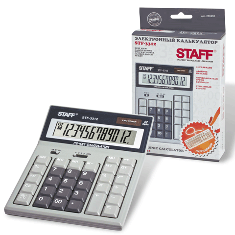 Калькулятор настольный 12 разрядов, двойное питание 193х140мм (STAFF)