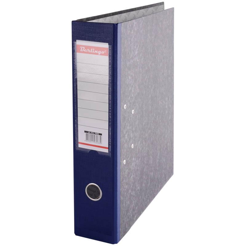 Папка-регистратор 70мм, мрамор, синий корешок, с карманом на корешке 25шт/уп (Berlingo)