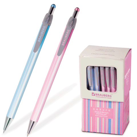 """Ручка шариковая автоматическая синяя, 0,5мм, корпус аасорти """"Sakura"""" 40шт/уп BRAUBERG)"""
