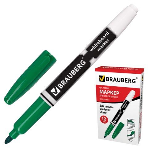 Маркер д/магнитных досок 4мм, зеленый, круглый наконечник 12шт/уп (BRAUBERG)
