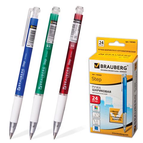 """Ручка шариковая автоматическая синяя, 0,7мм, грип, корп. ассорти """"Sprinter"""" 24шт/уп (BRAUBERG)"""
