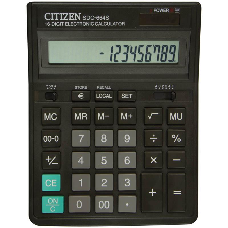 Калькулятор настольный 16 разрядов, двойное питание, 153х199х31мм, черный (SDC) (Citizen)