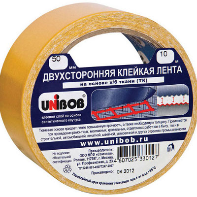 Скотч двусторонний 50ммх10м, ткань 36шт/кор (Unibob)