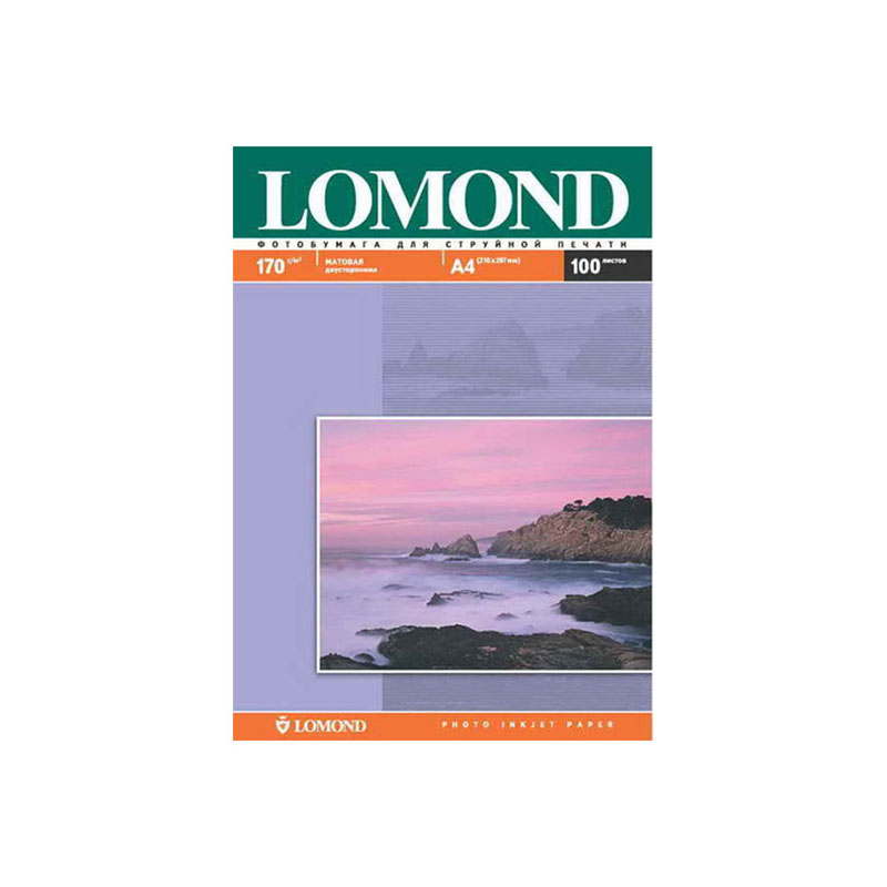 Фотобумага А4, 170гр, 100л, матовая, двусторонняя, д/струйный принеров (LOMOND)