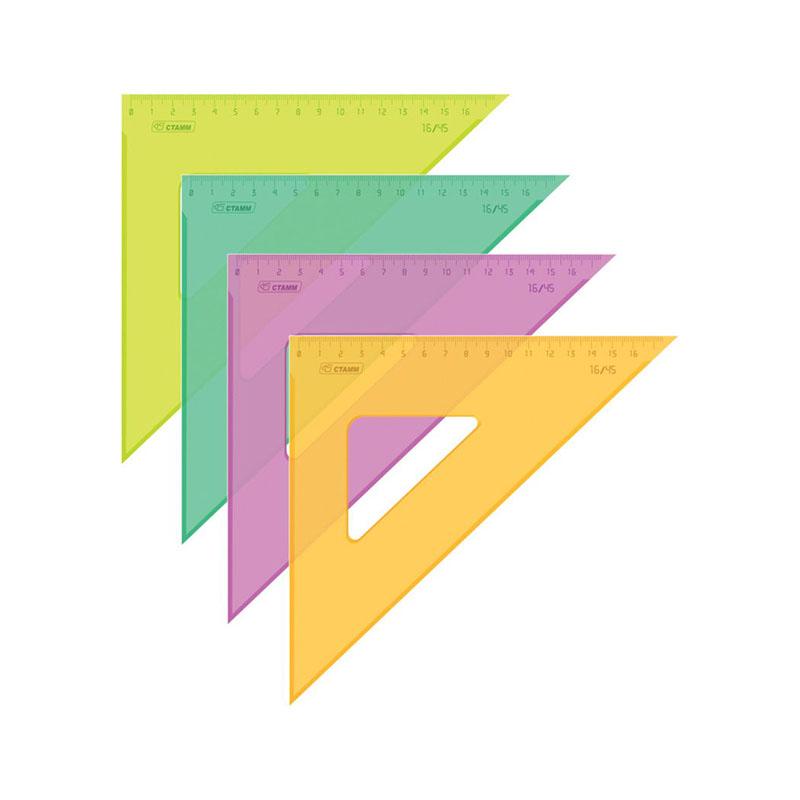 Треугольник 45 град./160 мм цветной прозрач.флуор (Стамм)