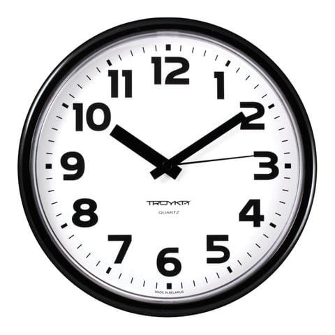 Часы настенные, круглые, белые, черная рамка, 23х23х4 см (91900945) (TROYKA)