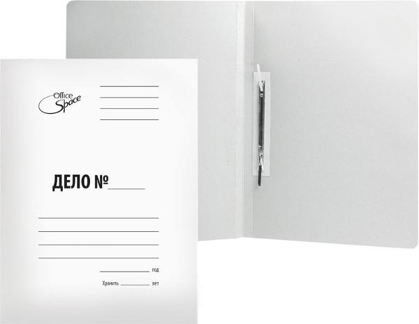 Скоросшиватель картонный 300г/м2, белый, мелованный, пробитый 250шт/уп (OfficeSpace)