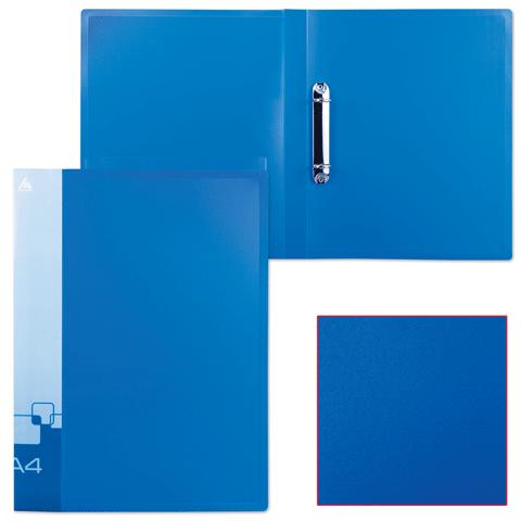 Папка на 2 кольца, 27мм, синий, торцевой и внутренний карман 0,7мм (БЮРОКРАТ)