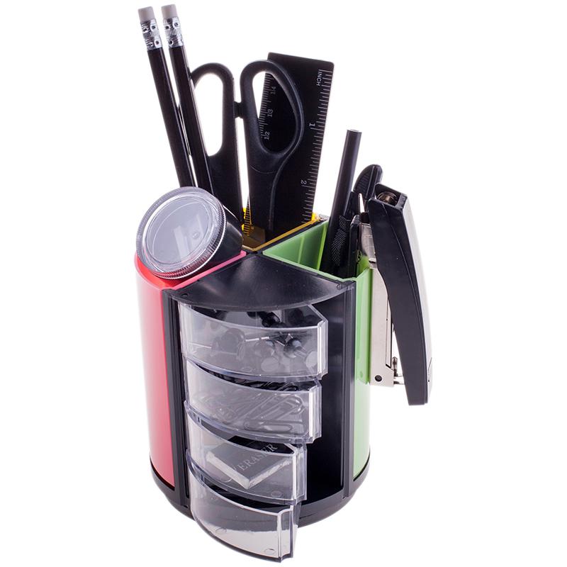 Канцелярский набор 11 предметов, черный с цветным, вращающийся (OfficeSpace)