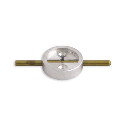 Плашка металлическая с штоком, диаметр 29мм, латунь