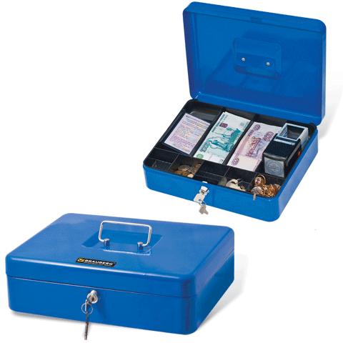 Ящик для денег, ценностей, документов, печатей 90х240х300мм, с ключевым замком, синий (BRAUBERG)