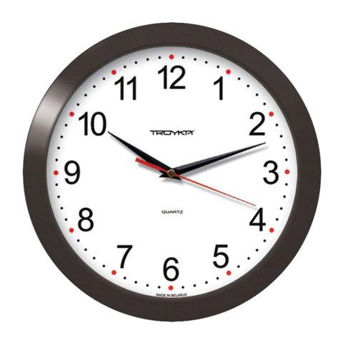 Часы настенные, круг, белые, черная рамка, 29х29х3,5см (11100112) (TROYKA)