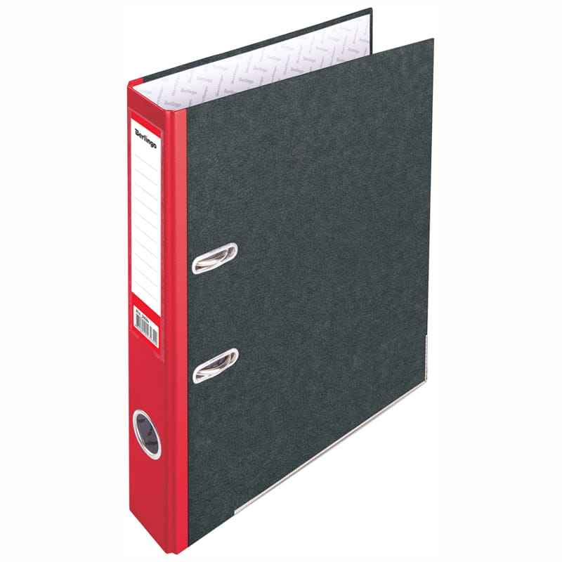 Папка-регистратор 50мм, мрамор, красный корешок, с карманом на корешке 25шт/уп (Berlingo)