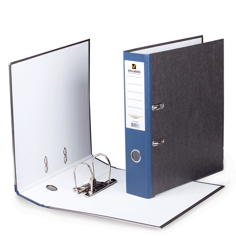 Папка-регистратор 75мм, мраморное покрытие, синий корешок 20шт/уп (BRAUBERG)