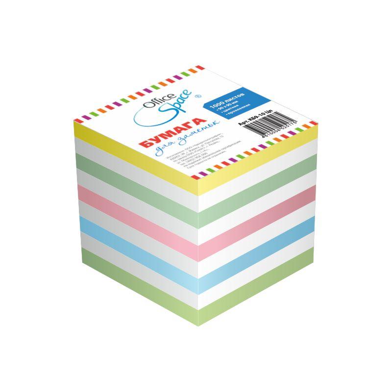 Блок д/записей 9х9х9см цветной, проклеенный (162003) 12шт/кор (OfficeSpase)