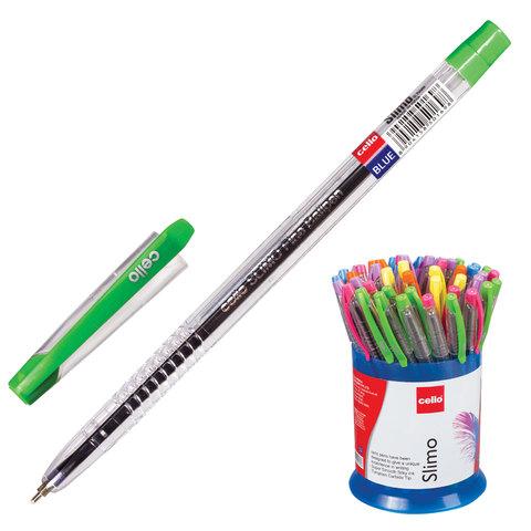 """Ручка масляная синяя, 0,7мм, прозрачный корпус, колпачок ассорти """"SLIMO"""" 50шт/уп (Cello)"""